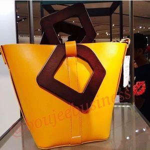 ZARA Wood Handle Shopper Bag